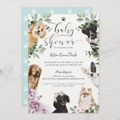 Cute Watercolor Dogs Floral Garden Baby Shower Invitation