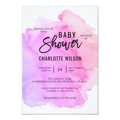 Cute Watercolor Purple Pink Peach Girl Baby Shower Invitation