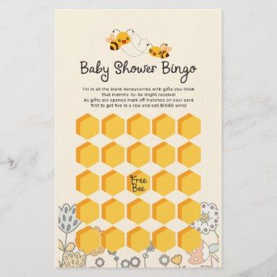 Cute What will it Bee Baby Shower Bingo Game Cards