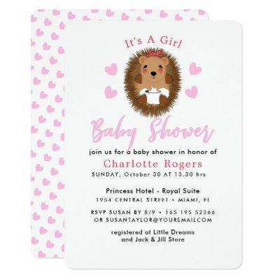 Cute Whimsy Hedgehog Pink Heart Baby Girl Shower Invitations