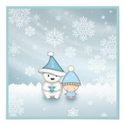 Cute Winter Baby Shower Invitations