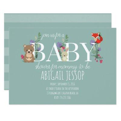 Cute Woodland Animals Baby Shower Invitations Card