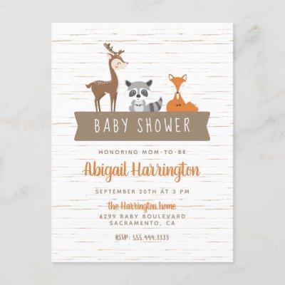 Cute Woodland Animals Banner Baby Shower Invitation Postcard