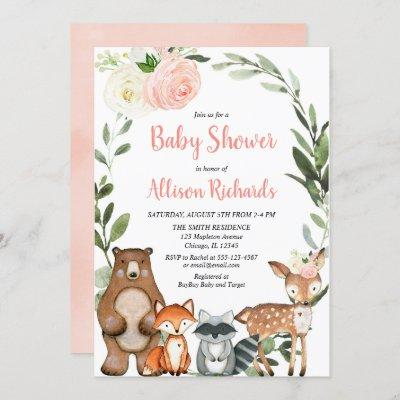 Cute woodland animals floral girl baby shower invitation