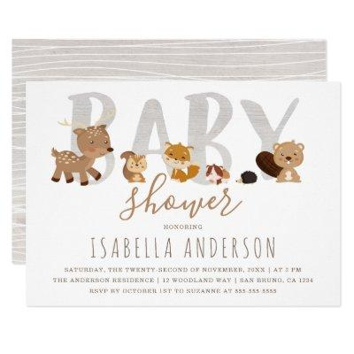 Cute Woodland Animals | Gender Neutral Baby Shower Invitations