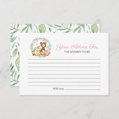 Cute Woodland Animals Greenery Baby Shower Advice Invitation