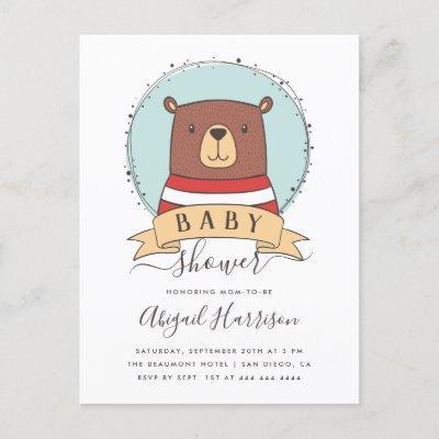 Cute Woodland Bear Boy Baby Shower Invitation Postcard