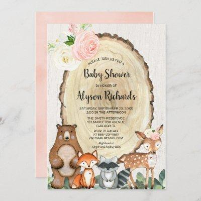 Cute woodland blush pink greenery girl baby shower invitation
