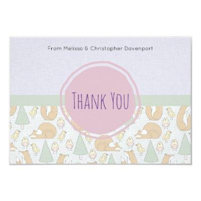 woodland animal thank you cards baby shower invitations | baby, Baby shower invitations