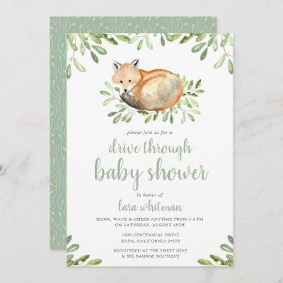 Cute Woodland Fox Drive Through Baby Shower Invitation