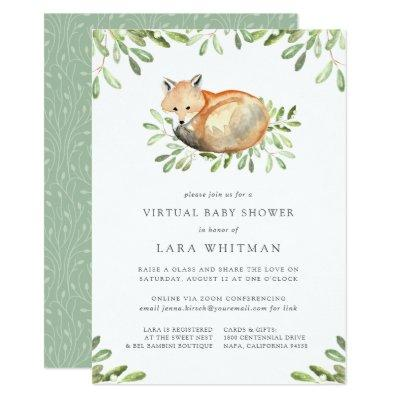 Cute Woodland Fox Virtual Baby Shower Invitation