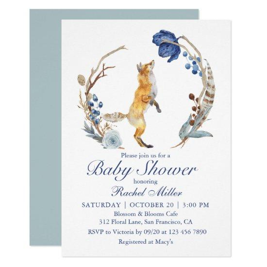 Cute Woodland Fox Watercolor Floral Baby Shower Invitation