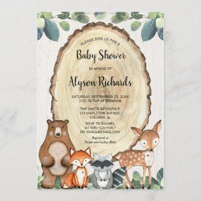 Cute woodland gender neutral greenery baby shower invitation