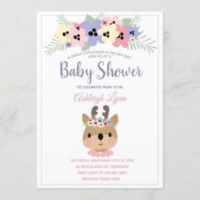 Cute Woodland Theme Girl Deer Baby Shower Invitation