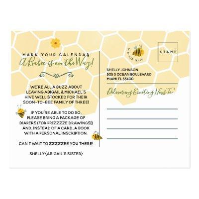 Cute Yellow Bumble Bee Gender Neutral Baby Shower Postcard