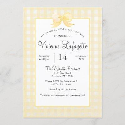 Cute Yellow Gingham with Bow Baby Shower Invitation