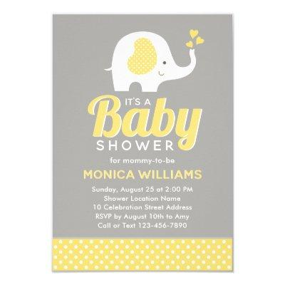 Cute Yellow Gray Elephant Baby Shower Invitations
