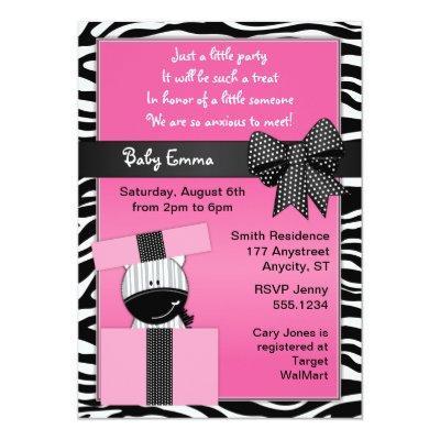 Cute Zebra Present Baby Shower Invitation