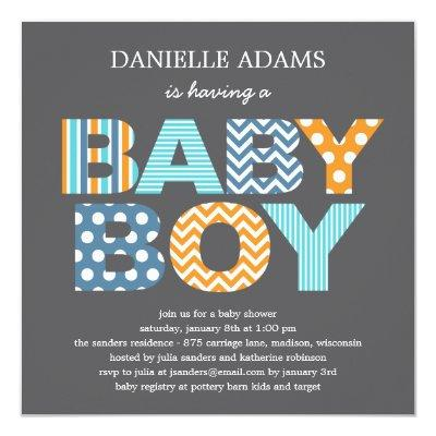 Cutout Letters Baby Shower Invitations - Boy