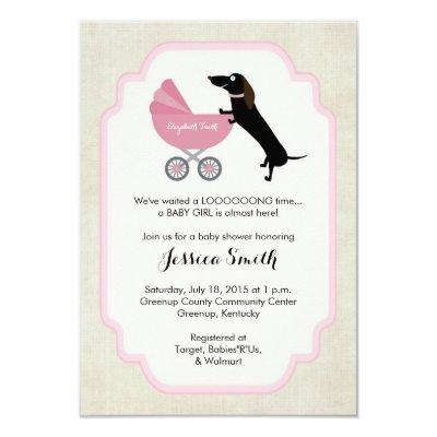 Dachshund Baby Shower Girl Invitations