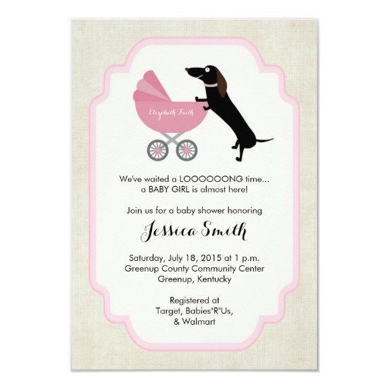Dachshund Baby Shower Girl Invitations