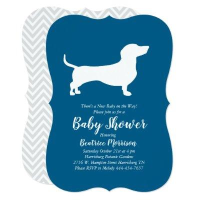 Dachshund Weiner Dog Baby Shower French Blue Boy Invitation