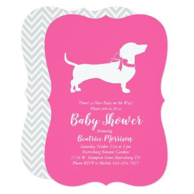 Dachshund Weiner Dog Baby Shower French Pink Girl Invitation
