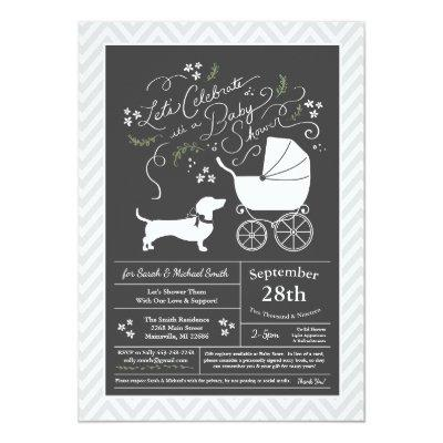 Dachshund Weiner Dog Baby Shower Gender Neutral Invitation