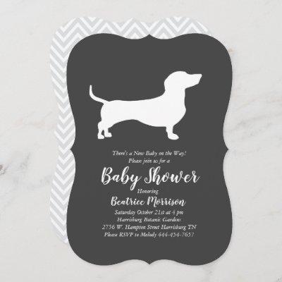 Dachshund Weiner Dog Baby Shower Gender Neutral Invitation
