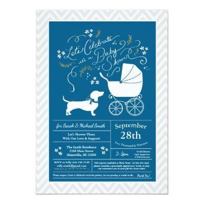 Dachshund Wiener Dog Baby Shower Blue Boy Invitation