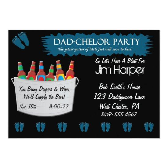 Dad Chelor Diaper Keg Party Invitations
