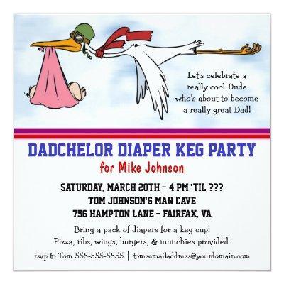 Dadchelor Diaper Keg New Dad Cute Stork Invitations