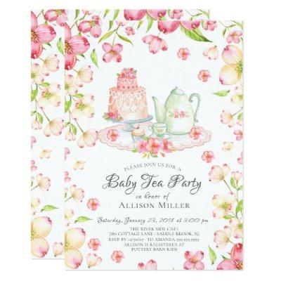 Dainty Pink Floral Baby Tea Party Invitations