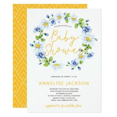 Daisies wreath yellow blue baby shower Invitations
