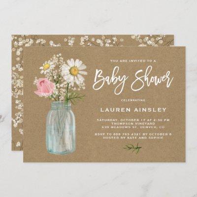 Daisy Mason Jar Kraft Paper Fall Baby Shower Invitation