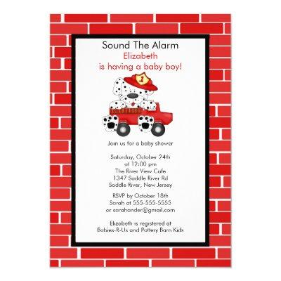 Dalmatian Fire Truck Boy Invitations