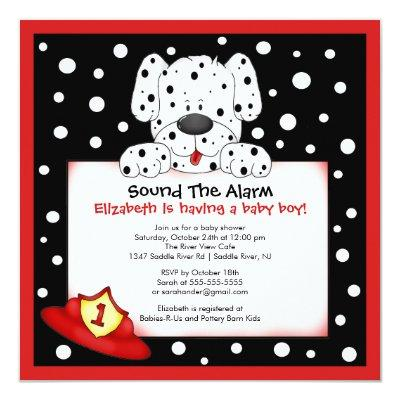 Dalmatian Fireman Boy Baby Shower Invitations