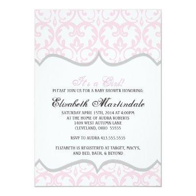 Damask Heart Pink Ribbon Baby Shower Invitations