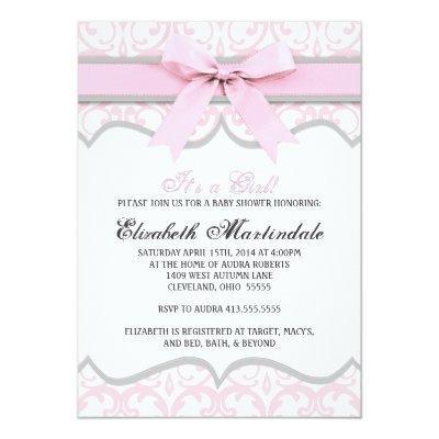 Damask Heart Pink Ribbon Baby Shower Invitations