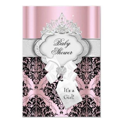 Damask & Tiara Princess Baby Shower Invitations
