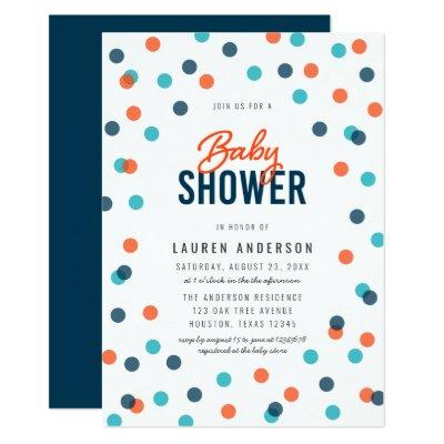 Dark Blue Orange Confetti Baby Shower Invitation