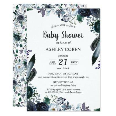 Dark Floral Baby Shower Invitation