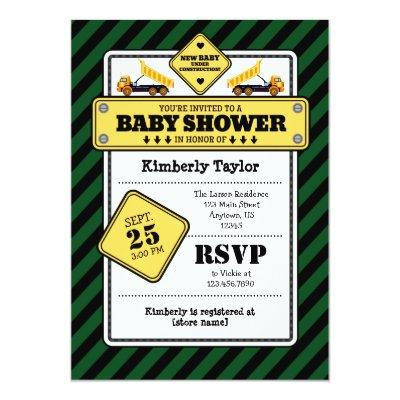 Dark Green Construction Baby Shower Invitation