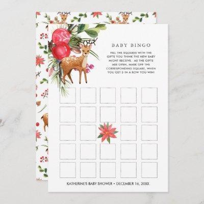 Darling Reindeer | Christmas Baby Shower Bingo Invitation