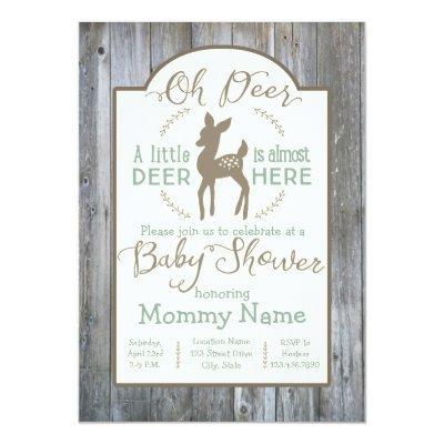 Dear little Deer baby shower Invitations on wood