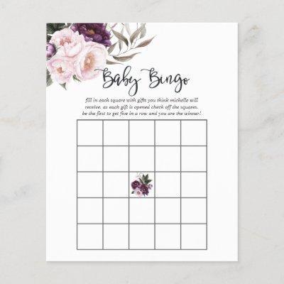 Deep Velvet Floral Baby Shower Bingo