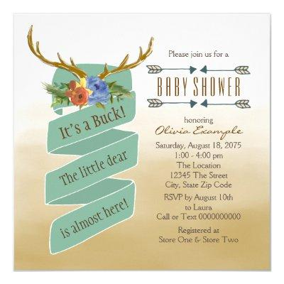 stag baby shower baby shower invitations | baby shower invitations, Baby shower invitations