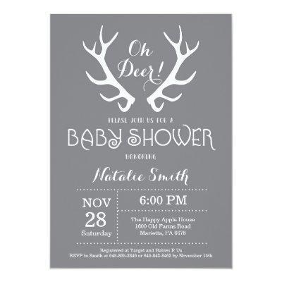 Deer Antler Baby Shower Invitations Gray