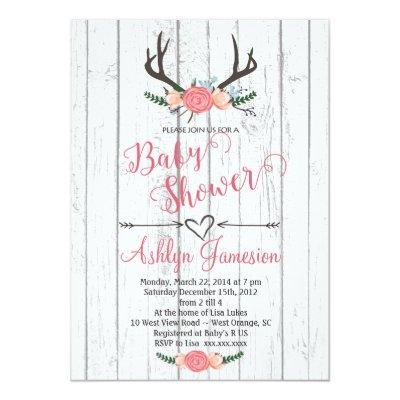 Deer Antler white wood Invitations