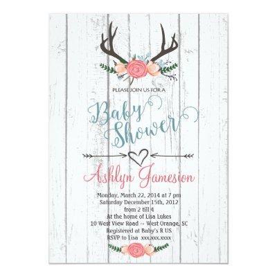 Deer Antler white wood Baby Shower Invitations